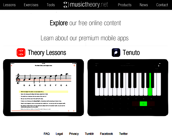 Screenshot of the Music Theory Main Page