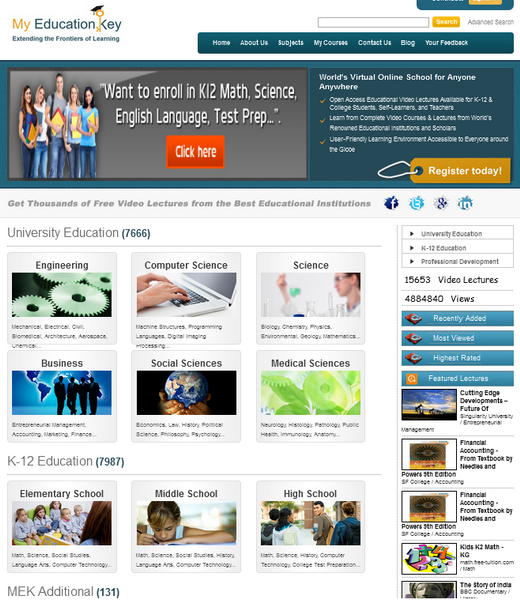 The main page of the My Education Key Online Learning Exchange Portal.