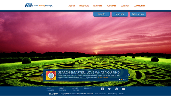The main page of the Pearson Online Learning Exchange platform.