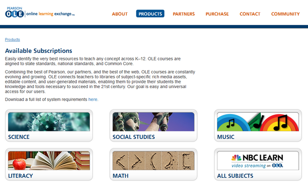 The main contents page of the Pearson Online Learning Exchange platform.