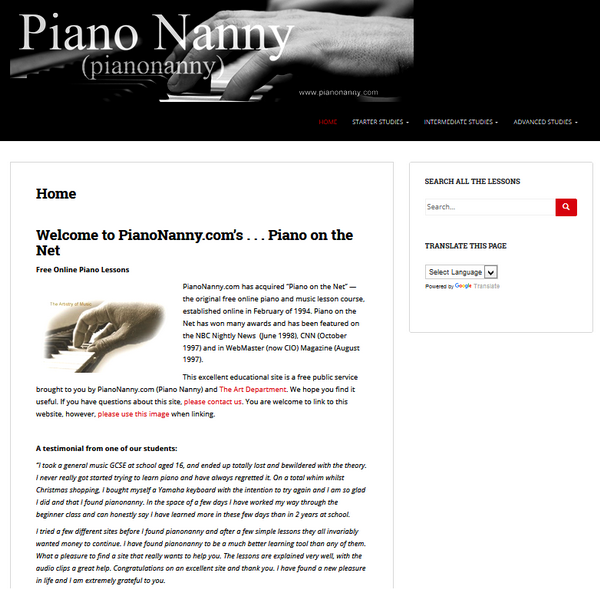 Screenshot of the Piano Nanny Main Page