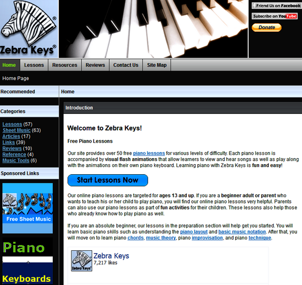 Screenshot of the Zebra Keys Main Page