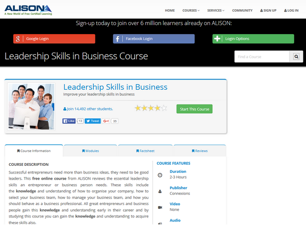 Screenshot of the ALISON Leadership page