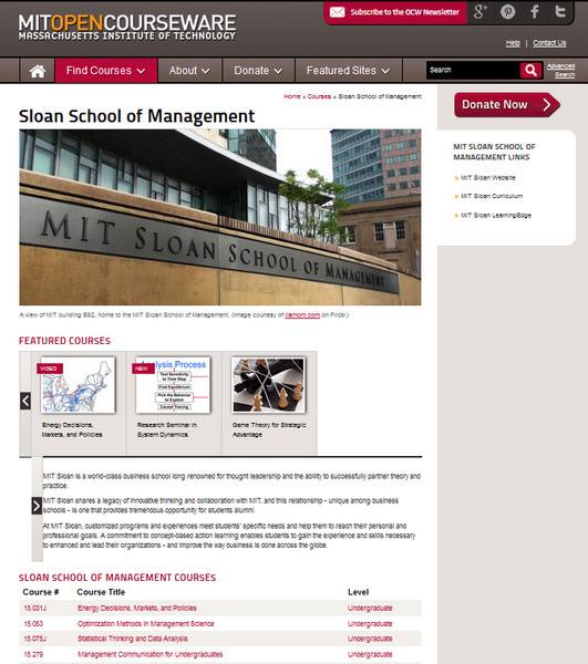Screenshot of the MIT Leadership page