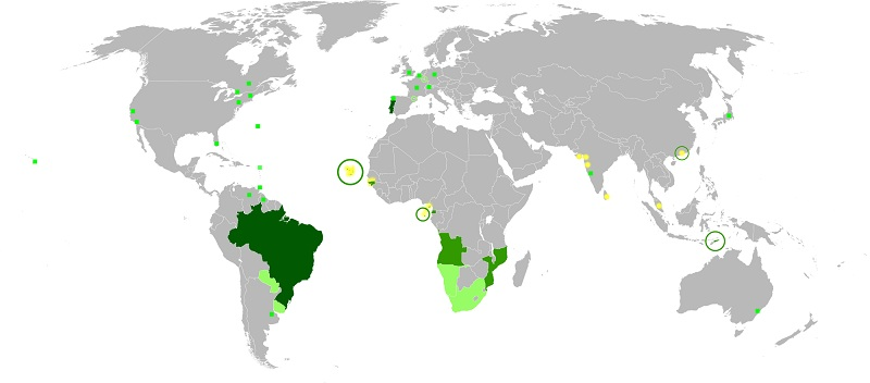 map of the world showing portuguese speaking territories