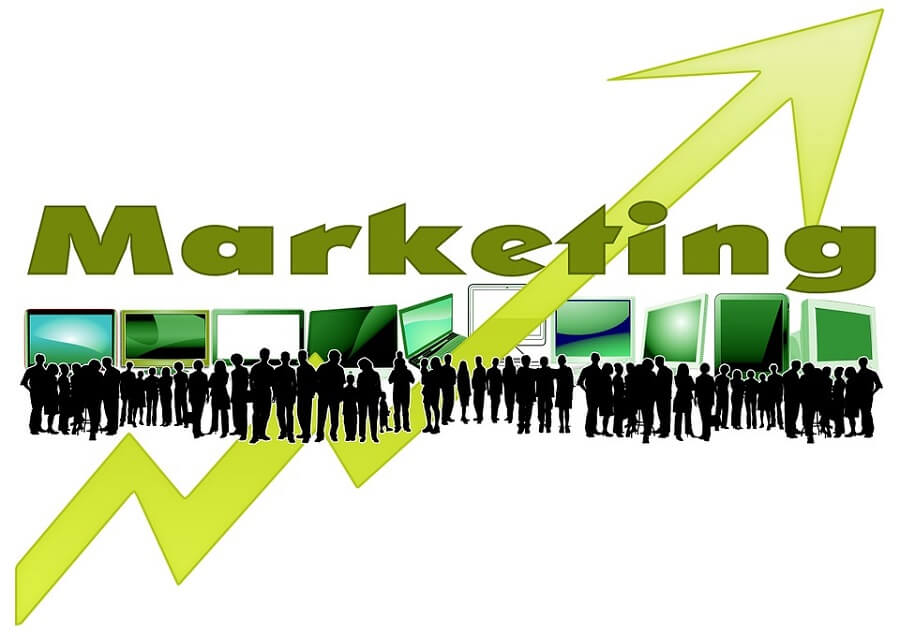 illustration of the word marketing and a lot of people and computer screens