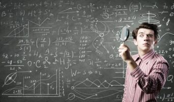 man doing math problems