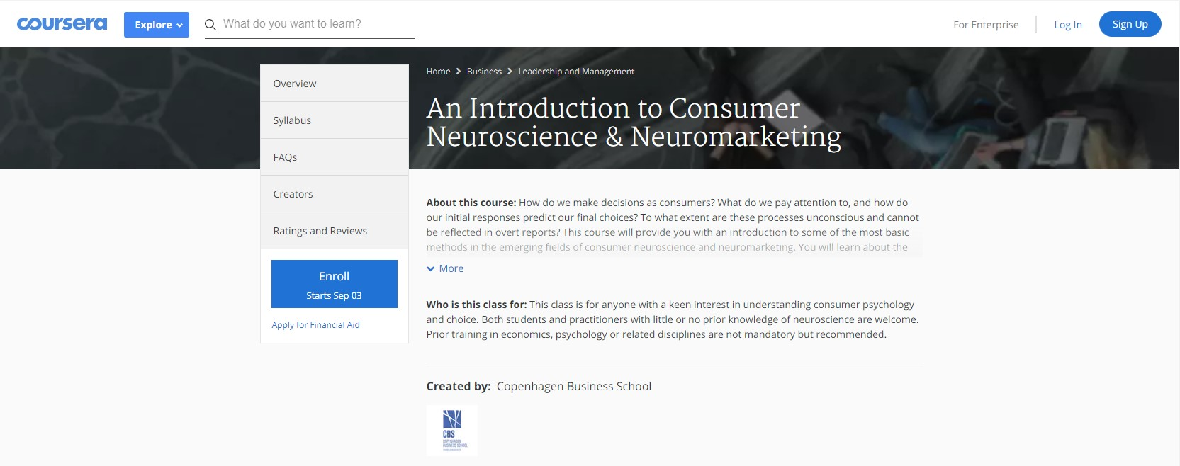 Coursera An Introduction to Consumer Neuroscience & Neuromarketing neuroeconomics