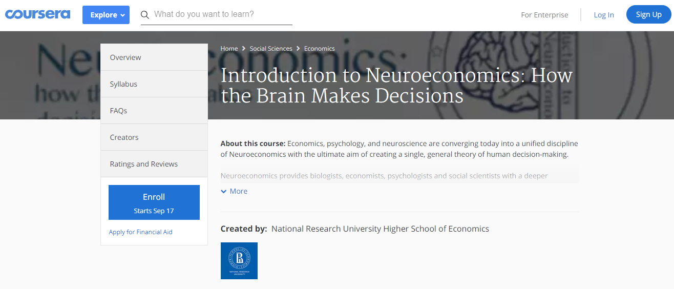 Introduction to Neuroeconomics How the Brain Makes Decisions