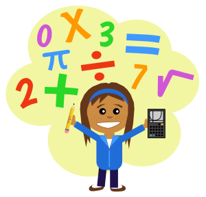 cartoon girl with numbers