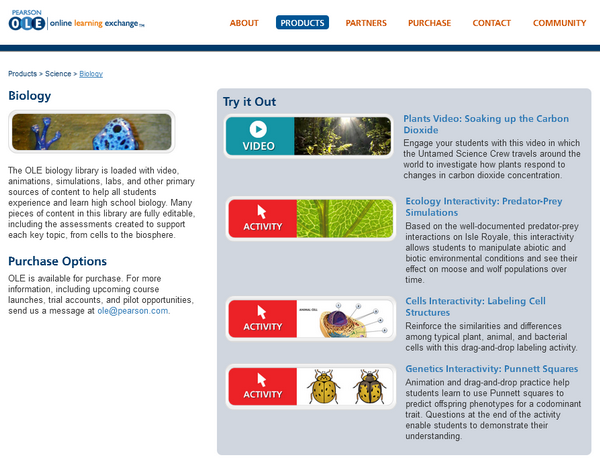 The sample content list in the Biology section of the Pearson Online Learning Exchange platform.