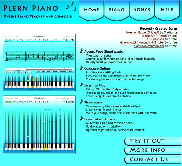 Screenshot of the Plern Piano Main Page