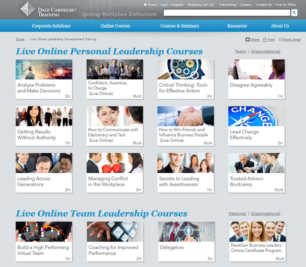 Screenshot of the Dale Carnagie Training Leadership page