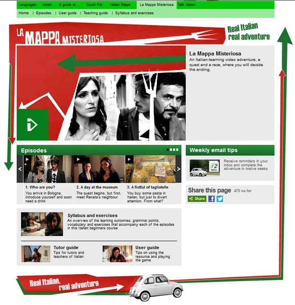 Screenshot of the La Mappa Misteriosa main page