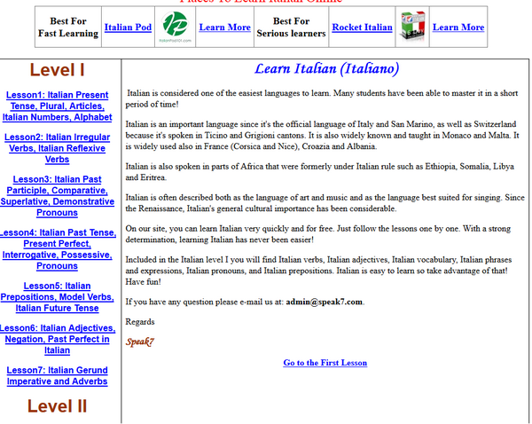 Screenshot of the Speak7 Italian page