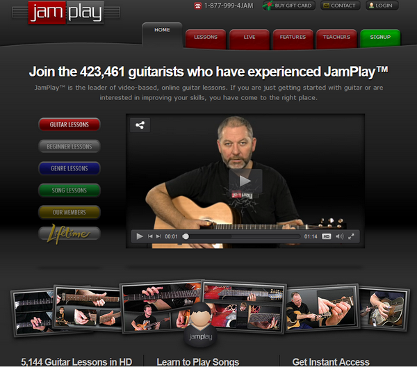 Screenshot of thr JamPlay portal