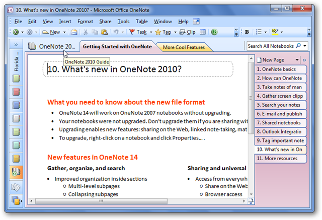 onenote tutorial 2007