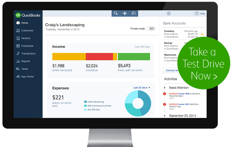 QuickBooks test-drive