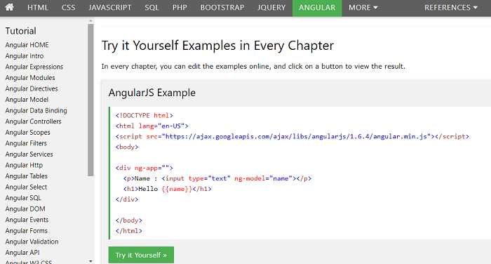 w3schools AnjularJS tutorial screenshot
