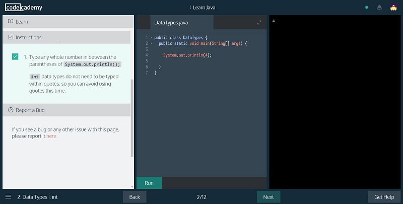 PrintScreen of Java Course from CodeCademy