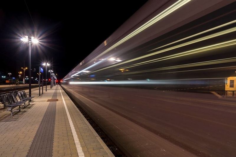 photo of a passing train with high speed photography technique