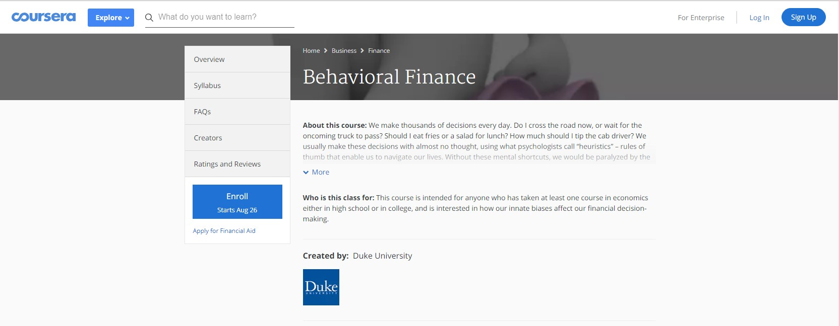 Coursera Behavioral Finance neuroeconomics