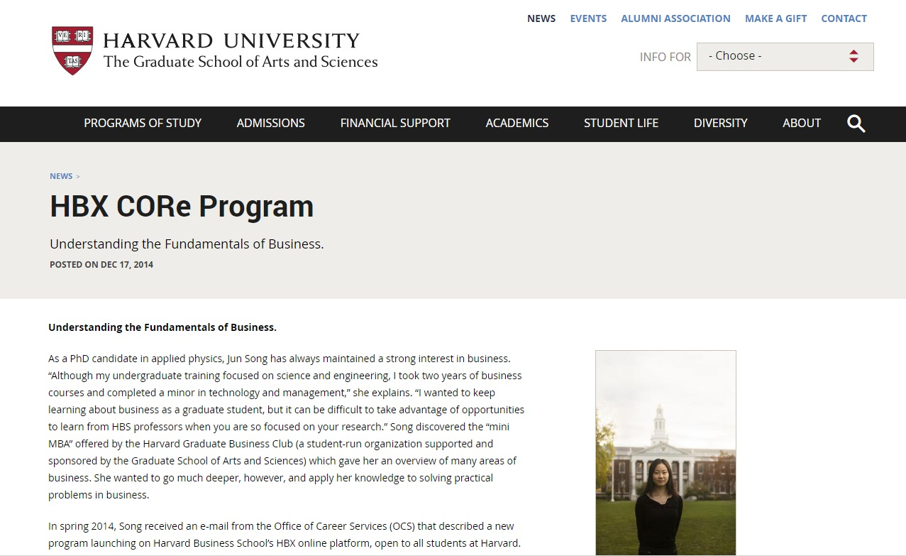 Harvard University – CORe Program for business statistics online courses