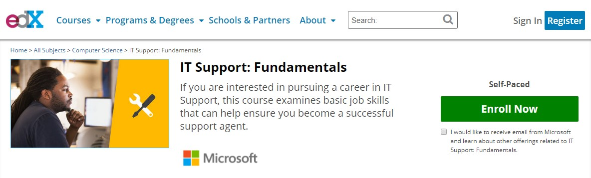 Microsoft IT Support Fundamentals it support specialist
