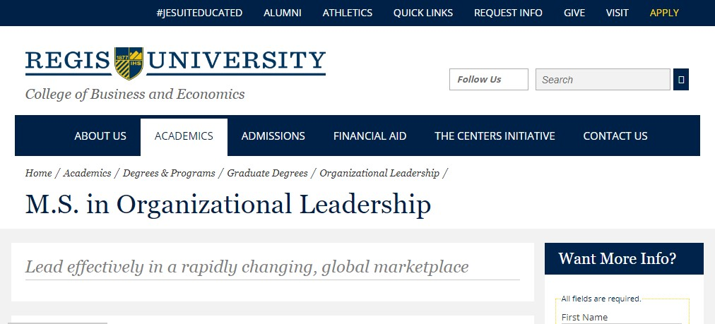 Regis University Organizational Leadership
