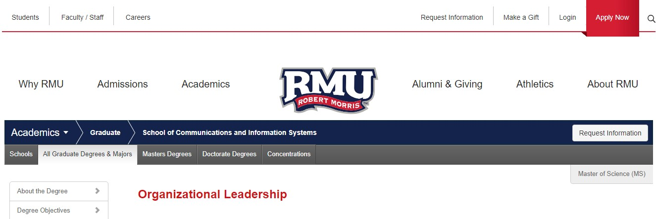 Robert Morris University Organizational Leadership