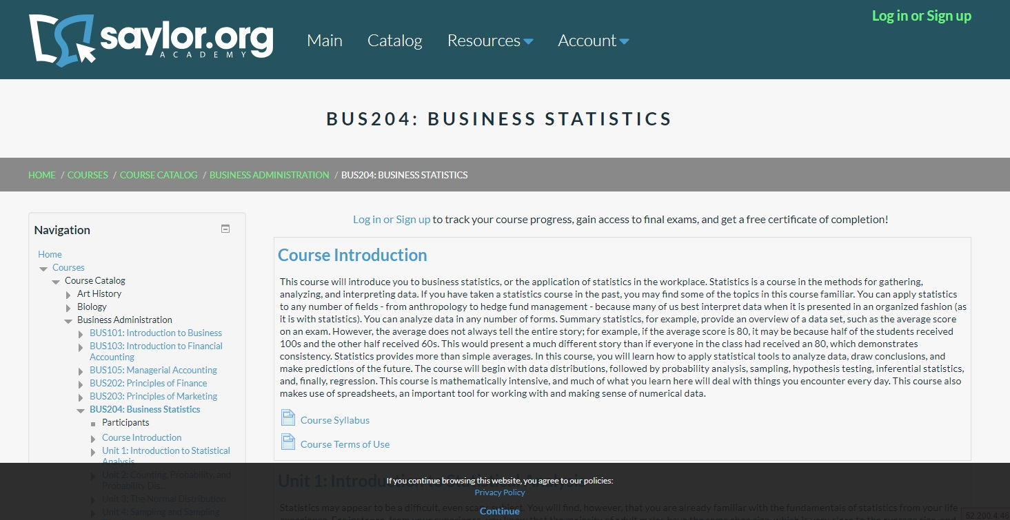 Saylor Academy – Business Statistics online courses