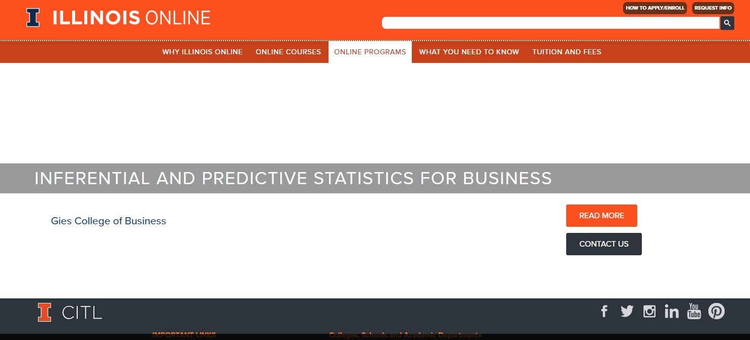 The University of Illinois at Urbana - Online business statistics courses