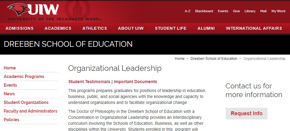 University of the Incarnate Word Organizational Leadership