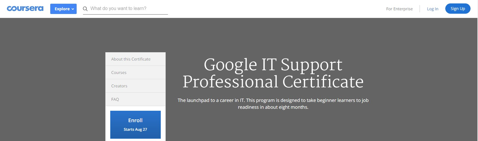 coursera it support specialist