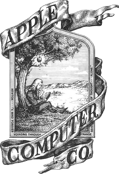 first apple computer logo featuring a drawing of Isaac Newton sitting and leaning on an apple tree