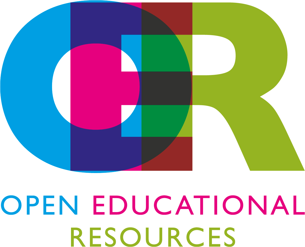 Blue, pink, red, and green logo of Open Educational Resources